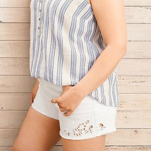 Torrid Cut Out Embroidered White Jean Shorts